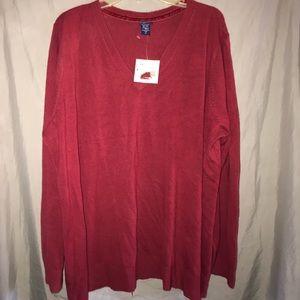 Basic Edition V-neck berry sweater NEW